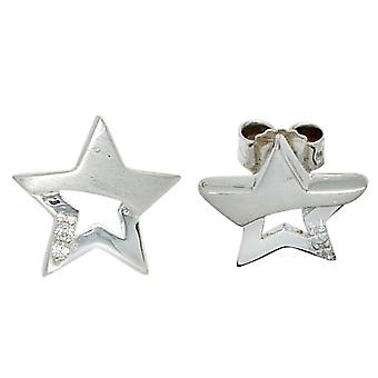 Ear plug star 925 sterling silver 4 cubic zirconia earrings for ladies and girls