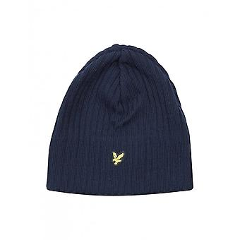 Lyle & Scott Ribbed Lambswool Beanie Hat, New Navy