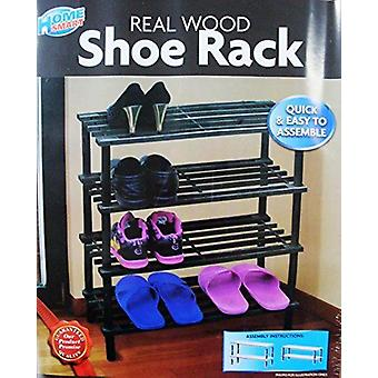 Four Tier Real Wood Shoe Rack 58X26X67 cm Quick & Easy To Assemble Dark Brown