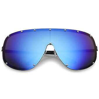 Futuristische Oversize montuurloze gekleurde gespiegeld Mono Lens Shield zonnebril 75mm