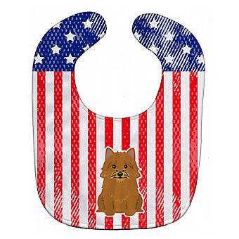 Carolines schatten BB3015BIB patriottische USA Norwich Terriër Baby slabbetje