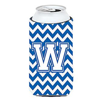 Letter W Chevron Blue and White Tall Boy Beverage Insulator Hugger