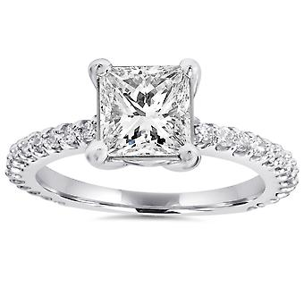 Princess Cut Diamond 1 1/3 ct Engagement Ring 14k White Gold