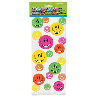 Unique Party Happy Face Cello Bags (Pack Of 20)