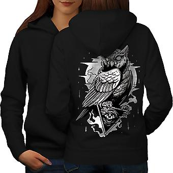 Triangle Owl Women BlackHoodie Back | Wellcoda