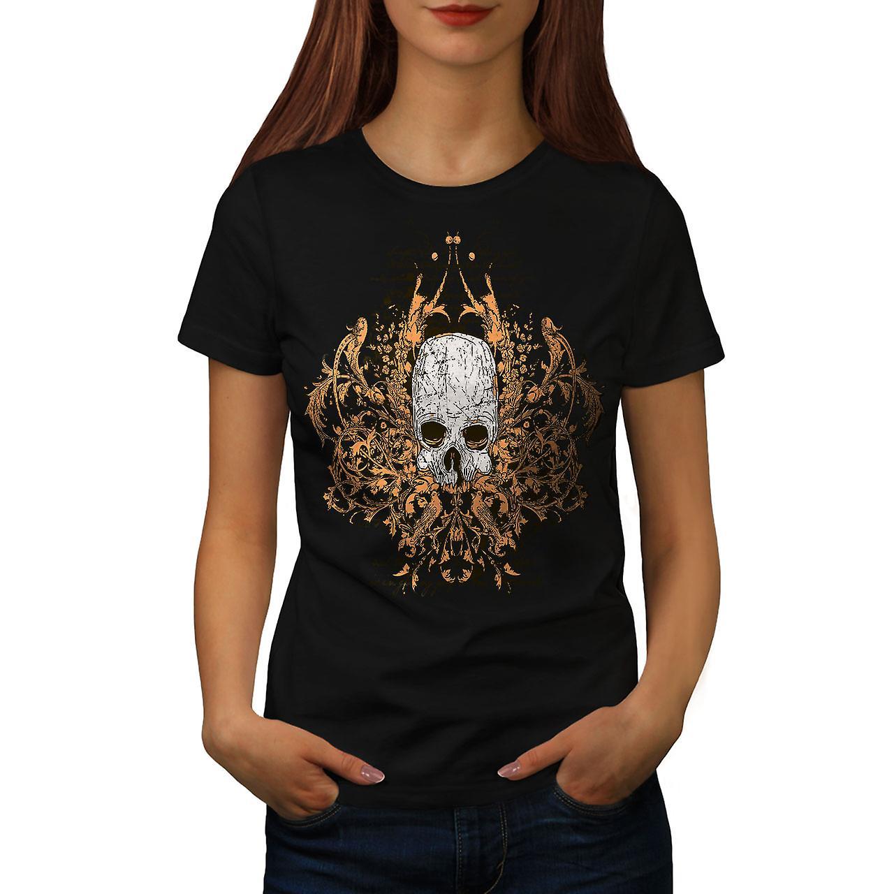Death Metal Badass Skull Women Black T-shirt | Wellcoda