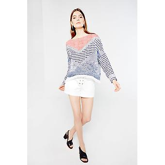 AMT Chequerboard Printed Blouse With Frayed Hem