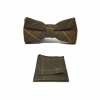 Heritage Check Regency Green Men's Bow Tie & Pocket Square Set