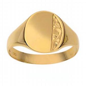 9ct Gold 13x11mm gents engraved oval Signet Ring Size X