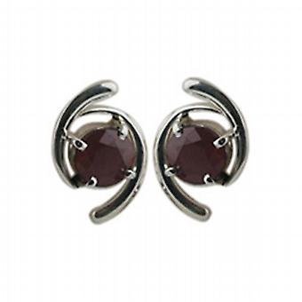 Silver 15x11mm Earrings set with 6mm round Garnet