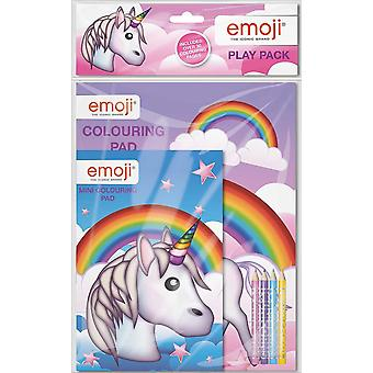 Emoji Unicorn Play Pack Colouring Pads Pencils Kids Activity Set