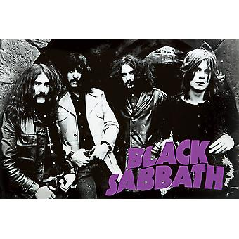 Black Sabbath Early Group Pic Early Group BW Horiz Poster Print