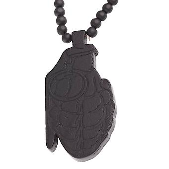 Wood style bead chain - hip hop GRENADE black