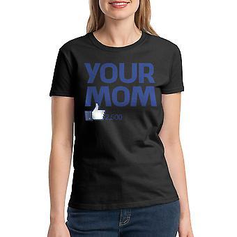 Humor din mamma Kvinnors svart T-shirt