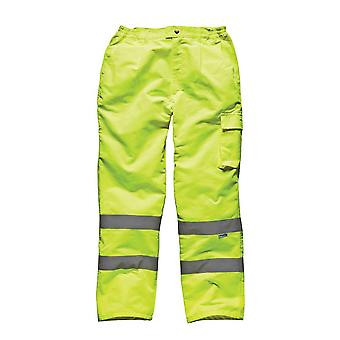 Dickies Mens Hi Vis Pc Workwear Trousers Yellow SA35015Y