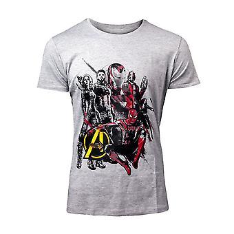 Bioworld EU Marvel Comics Avengers Infinity Krieg Zeichen grau T-Shirt grau M