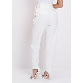 cddbe8cd4a7 High Waisted Tailored Belted Trousers White