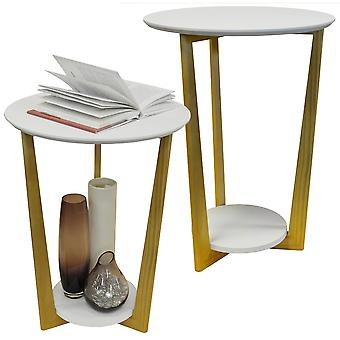 Orbital - 2 Pack - Retro Wood Round Side Table With Shelf - Natural / White