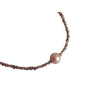 Gemshine - ladies - Bead Necklace - diamond - champagne - bronze - - salmon - rose - 45 cm