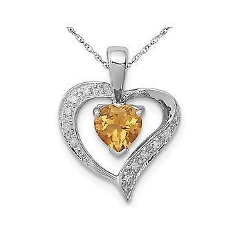 2/5 Carat (ctw) Natural Citrine Heart Pendant Necklace in Sterling Silver with Chain