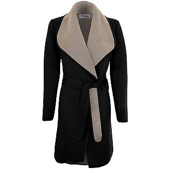 Ladies Long Sleeve Folded Collar Tie Up Belted Grey Contrast PVC Wrap Jacket
