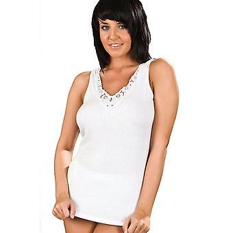 2 Pack Black & White Womens/Ladies Sleeveless Vest Ultra Comfort 100% Cotton