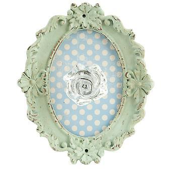 Clayre & EEF 62913 væggen krog frakke krog med ramme ca. 17 x 4 x 14 cm grøn