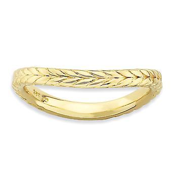 2,25 mm Sterlingsilber gemustert stapelbar Ausdrücke poliert Gold-FlashedWave Ring - Ring-Größe: 5 bis 10