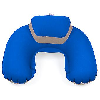 TRIXES Blue and Beige Inflatable Headrest Soft Blow-Up Travel Cushion