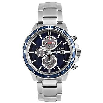 Seiko SSC431P1 Mens Solar Powered Watch with Blue Dial & Silver Bracelet