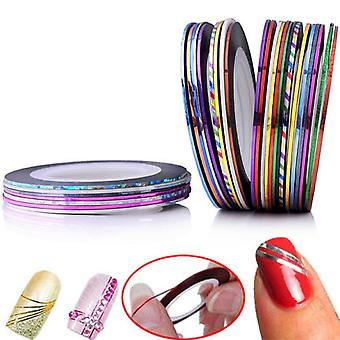 Striping tape, nageltejp, nail decorations-10pack