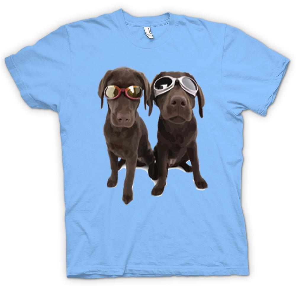 Mens t-shirt-Cool Labrador nero con occhiali da sole