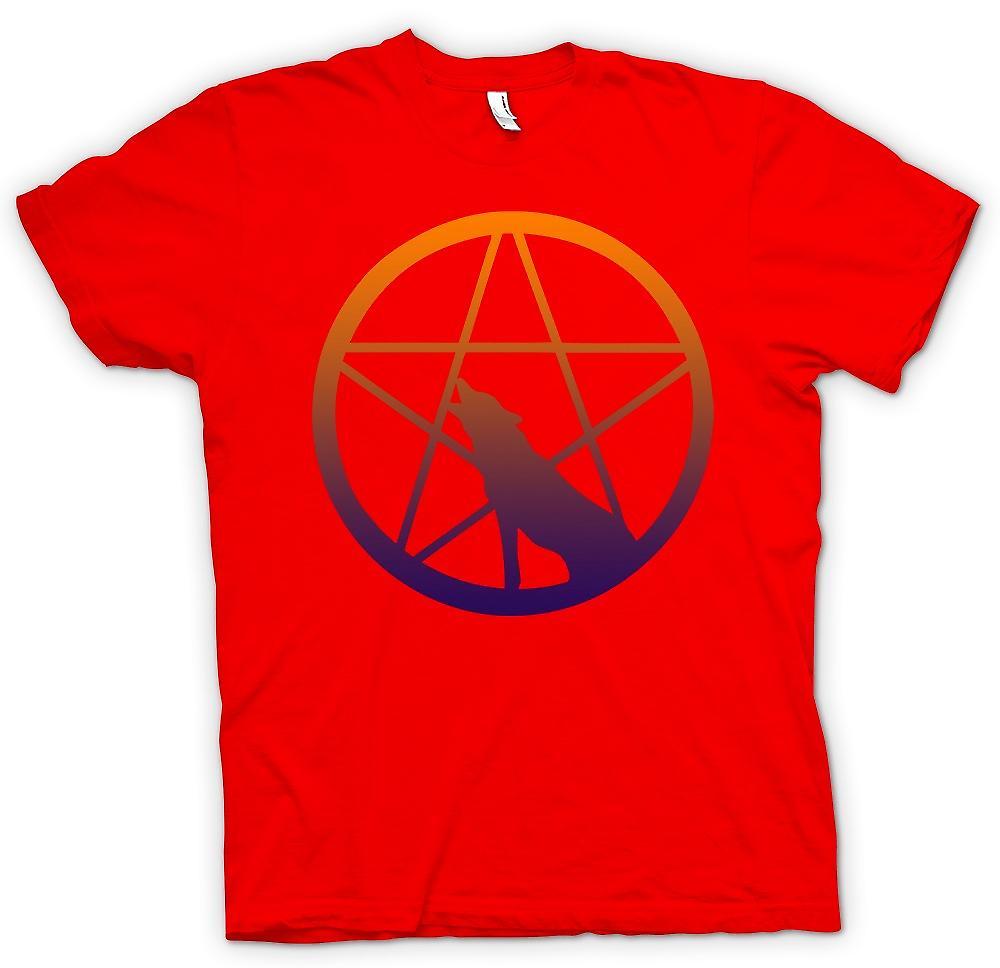 Hommes T-shirt - Loup hurlant Pentagram