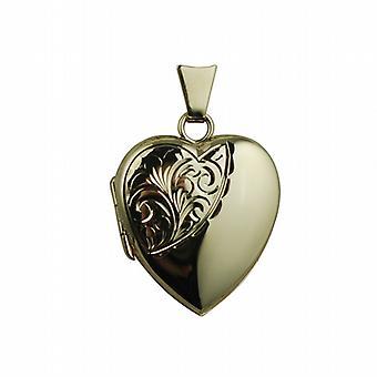 9ct Gold 21x19mm half hand engraved heart shaped Locket