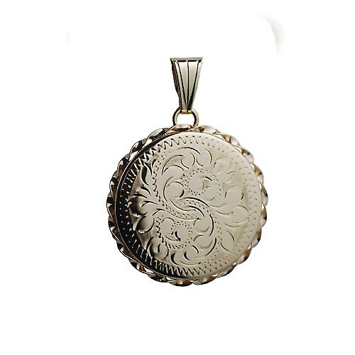 9ct Gold 25mm hand engraved twisted wire edge flat round Locket
