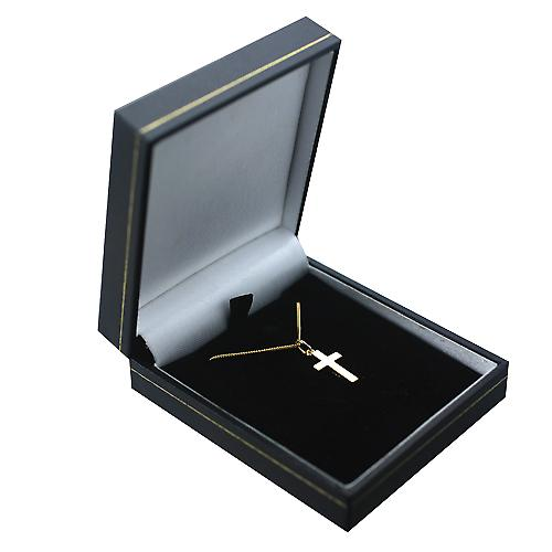 18ct Gold 17x10mm plain solid block Cross with a curb Chain 16 inches Only Suitable for Children