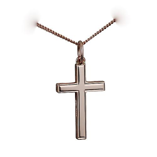 9ct Rose Gold 20x13mm engine turned line border solid block Cross with a curb Chain 16 inches Only Suitable for Children