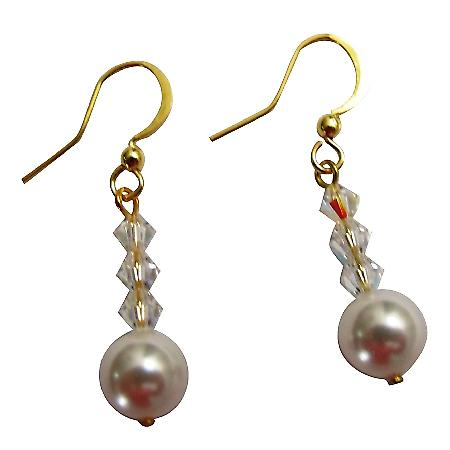 White Pearls AB Crystals Bridesmaid Flower Girls Golden Hook Earrings
