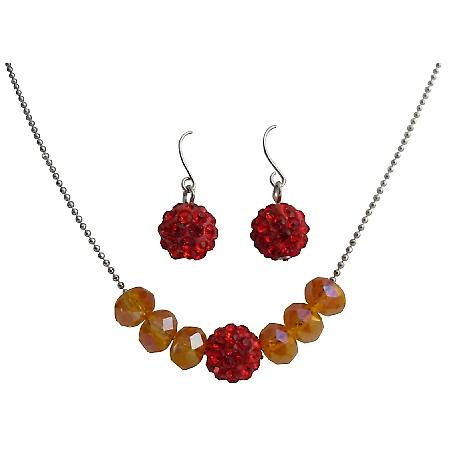 Beautiful Red Pave Ball & Fire Opal Crystals Jewelry Set
