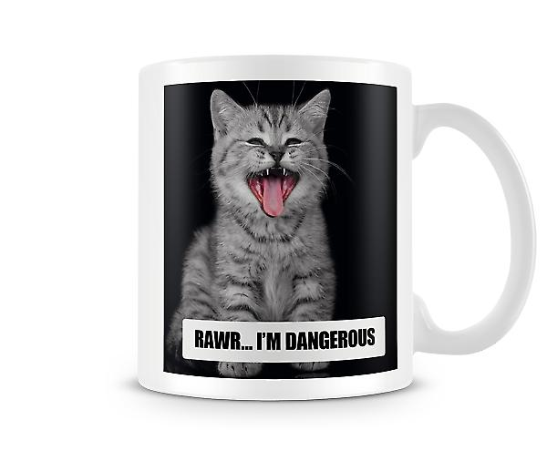 Grey Cute Cat Rawr I'm Dangerous Mug