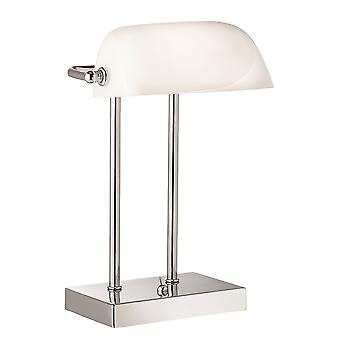 Chrome bankir bordslampa med vit glasskärm - Searchlight 1200CC