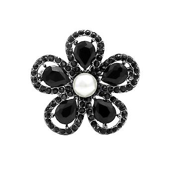 Eternal Collection Cosima Black Crystal Pearl Floral Brooch