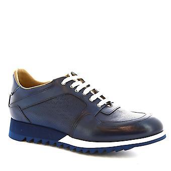 Leonardo skor mans handgjorda spetsar ups skor i blått kalvskinn
