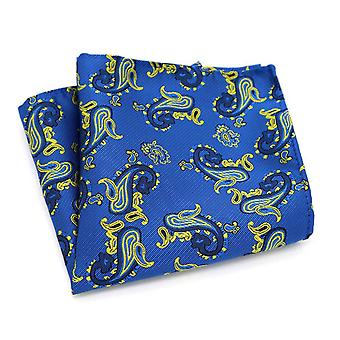 Men's midnight blue & light yellow paisley pocket square