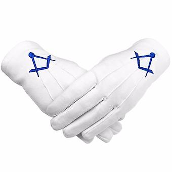 Masonic Cotton Gloves Thin Square and Compass Machine Embroidery