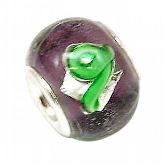 TOC BEADZ 925 Silver Purple/Green Swirl 11mm Bead