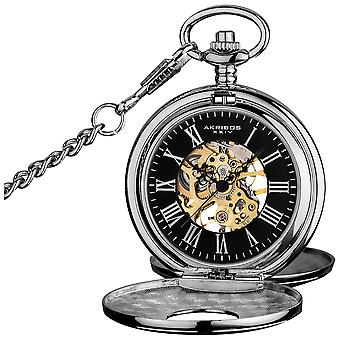 Akribos XXV AK609SSB Men's Antique Mechanical Skeleton Chain Pocket Silver-Tone Watch