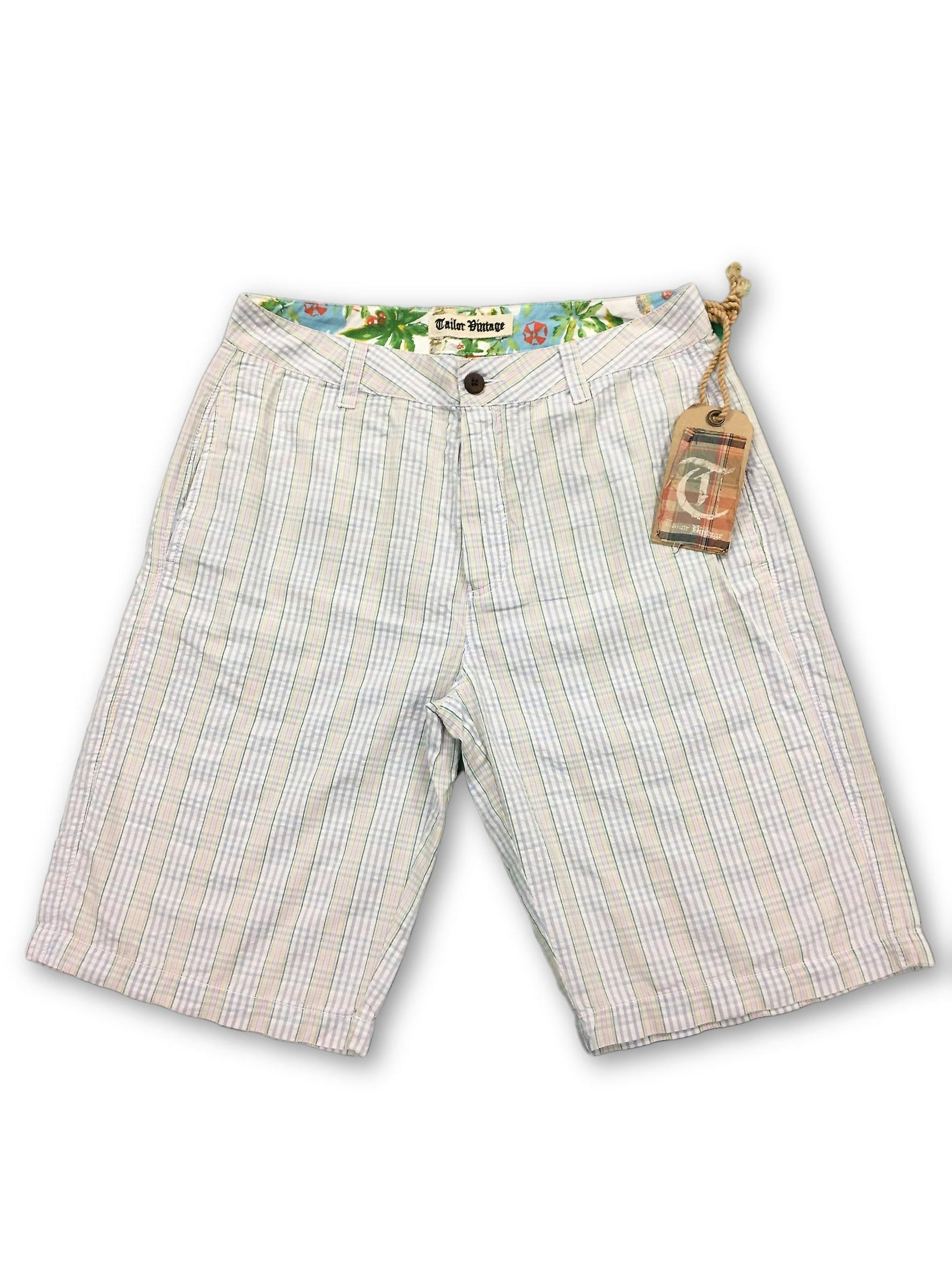 Tailor Vintage courtes in blanc micro check