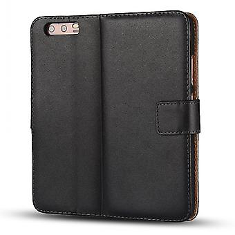Wallet Pouch Huawei P10 Plus, genuine leather, black