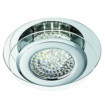 LED runde flush loft lys krom med krystalglas Center